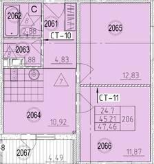 Апарт-отель «Avenue-Apart на Дыбенко», планировка 2-комнатной квартиры, 47.46 м²