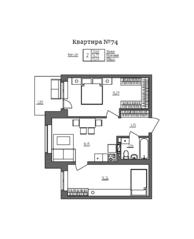 МЖК «Счастье 2.0», планировка 2-комнатной квартиры, 56.48 м²