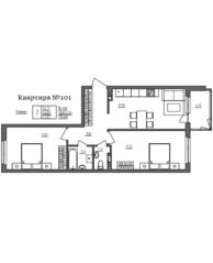 МЖК «Счастье 2.0», планировка 2-комнатной квартиры, 67.09 м²