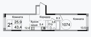 ЖК «Сиреневый парк», планировка 1-комнатной квартиры, 43.40 м²