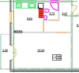 МЖК «Новое Рощино», планировка 1-комнатной квартиры, 37.10 м²
