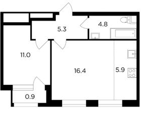 ЖК «Филатов луг», планировка 1-комнатной квартиры, 44.30 м²