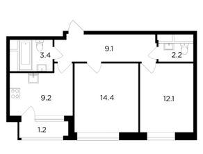 ЖК «Филатов луг», планировка 2-комнатной квартиры, 51.60 м²
