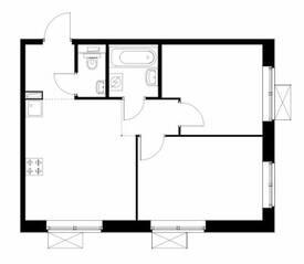 ЖК «Большая Академическая 85», планировка 2-комнатной квартиры, 47.50 м²