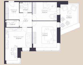 МЖК «Veren Village стрельна», планировка 2-комнатной квартиры, 83.20 м²