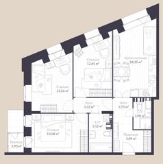 МЖК «Veren Village стрельна», планировка 3-комнатной квартиры, 81.50 м²