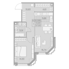 ЖК «Alter», планировка 1-комнатной квартиры, 57.93 м²
