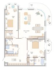 ЖК «Октавия», планировка 2-комнатной квартиры, 147.37 м²