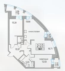 ЖК «Приморский квартал», планировка 2-комнатной квартиры, 86.70 м²