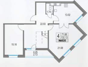 ЖК «Приморский квартал», планировка 4-комнатной квартиры, 132.13 м²