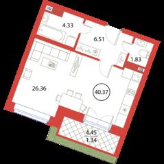 ЖК «Ariosto!», планировка студии, 40.37 м²