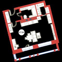 ЖК «Ariosto!», планировка студии, 47.84 м²