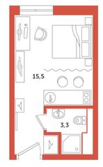 МФК «Zoom Apart», планировка студии, 18.80 м²