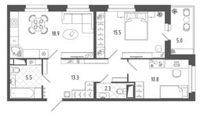 ЖК «Московские ворота-2», планировка 2-комнатной квартиры, 68.80 м²