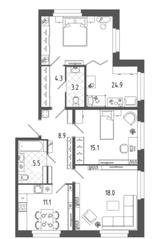 ЖК «Московские ворота-2», планировка 3-комнатной квартиры, 91.00 м²