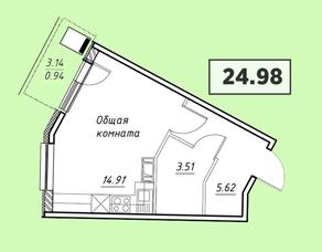 ЖК «Парковый» (Агалатово), планировка студии, 24.98 м²