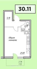 ЖК «Парковый» (Агалатово), планировка студии, 30.11 м²