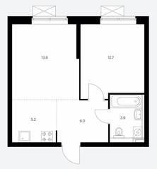 ЖК «Сигнальный 16», планировка 2-комнатной квартиры, 41.60 м²
