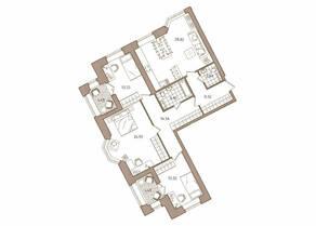 ЖК «Новое Купчино», планировка 3-комнатной квартиры, 116.62 м²