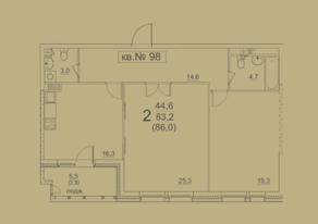 ЖК «Квартал 38А», планировка 2-комнатной квартиры, 80.40 м²