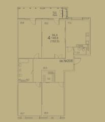ЖК «Квартал 38А», планировка 4-комнатной квартиры, 152.50 м²