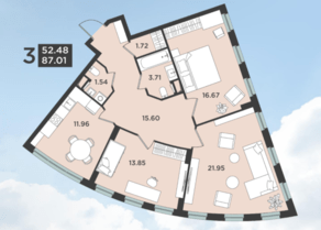 ЖК «Лефорт», планировка 3-комнатной квартиры, 87.01 м²