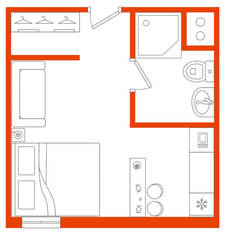 МФК «Best Western Zoom Hotel», планировка студии, 30.70 м²
