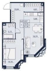 ЖК «Alter», планировка 1-комнатной квартиры, 57.18 м²