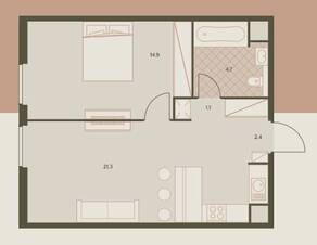 ЖК «Eniteo», планировка 2-комнатной квартиры, 41.20 м²