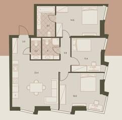ЖК «Eniteo», планировка 4-комнатной квартиры, 80.30 м²