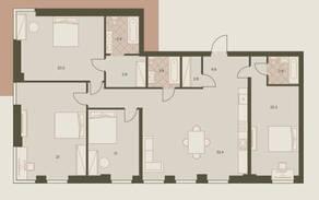 ЖК «Eniteo», планировка 5-комнатной квартиры, 146.30 м²