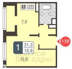 ЖК «Мой адрес в Некрасовке 2», планировка 1-комнатной квартиры, 31.30 м²