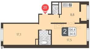 ЖК «Мой адрес в Некрасовке 2», планировка 2-комнатной квартиры, 54.40 м²