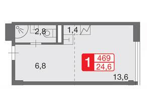 МФК «Loft Вольный», планировка 1-комнатной квартиры, 32.00 м²
