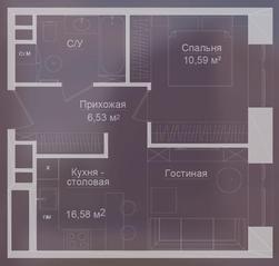 МФК «Долгоруковская, 25», планировка квартиры со свободной планировкой, 39.50 м²