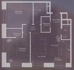 МФК «Долгоруковская, 25», планировка 3-комнатной квартиры, 81.30 м²
