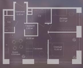 МФК «Долгоруковская, 25», планировка квартиры со свободной планировкой, 64.50 м²