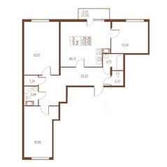 ЖК «Полет», планировка 3-комнатной квартиры, 115.16 м²