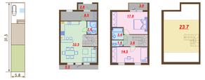 МЖК «Ломоносовская усадьба», планировка 2-комнатной квартиры, 116.90 м²