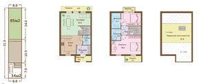 МЖК «Ломоносовская усадьба», планировка 3-комнатной квартиры, 121.60 м²