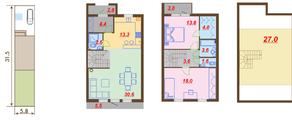МЖК «Ломоносовская усадьба», планировка 3-комнатной квартиры, 135.50 м²