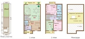 МЖК «Ломоносовская усадьба», планировка 4-комнатной квартиры, 137.40 м²