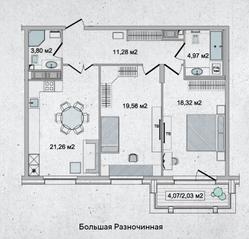 ЖК «Family Loft», планировка 2-комнатной квартиры, 81.06 м²