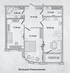 ЖК «Family Loft», планировка 2-комнатной квартиры, 88.93 м²
