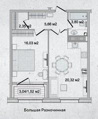 ЖК «Family Loft», планировка 1-комнатной квартиры, 49.68 м²