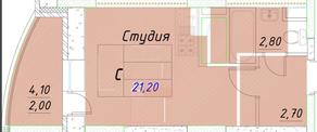ЖК «Ледово», планировка студии, 32.40 м²