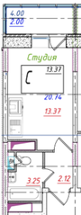 ЖК «Ледово», планировка студии, 20.74 м²
