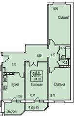 ЖК «Ледово», планировка 3-комнатной квартиры, 84.56 м²