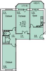 ЖК «Ледово», планировка 3-комнатной квартиры, 81.64 м²