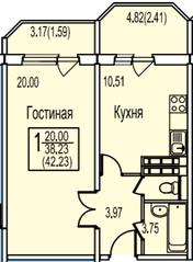 ЖК «Ледово», планировка 1-комнатной квартиры, 42.23 м²